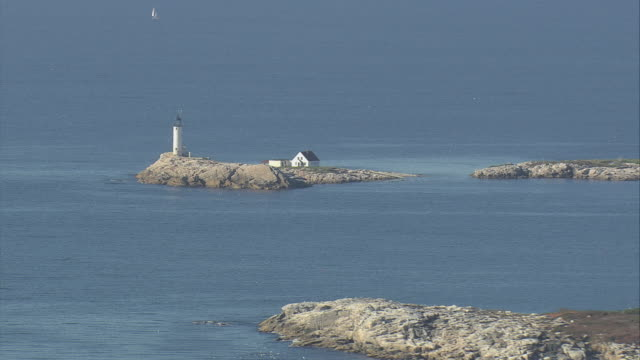 aerial lighthouse at the isles of shoals / maine, united states - isles of shoals stock videos & royalty-free footage