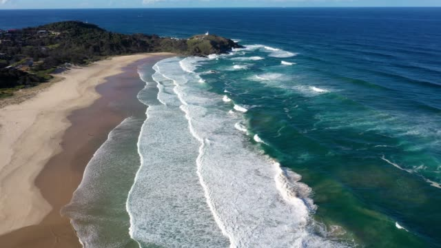 lighthouse beach, port macquarie, coastline in australia, aerial view - sand stock videos & royalty-free footage