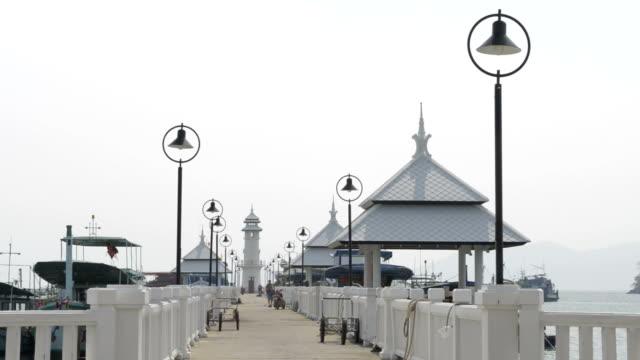 lighthouse, gazebo and lanterns at bang bao pier - gazebo stock videos and b-roll footage