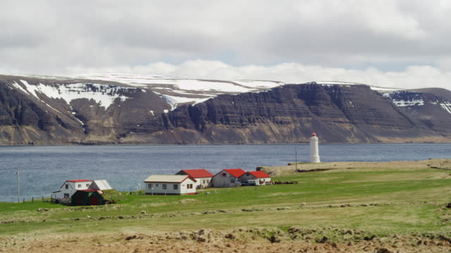 Lighthouse in Icelandic fjord in real time