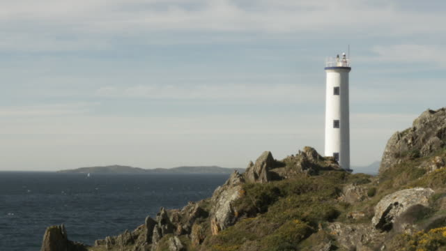 lighthouse in the atlantic west coast - galicia stock videos & royalty-free footage