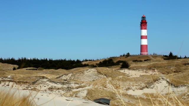 vidéos et rushes de phare dans les dunes, panoramique - mer du nord