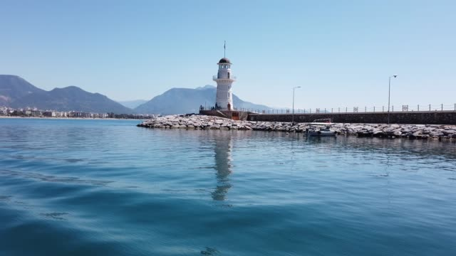 lighthouse of alanya - jetty stock videos & royalty-free footage