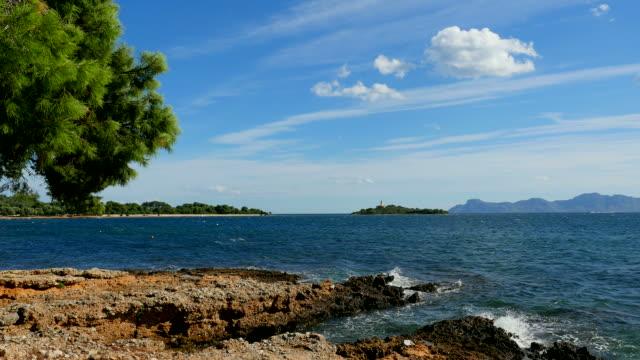 Lighthouse of Alcanada, bay of Port Alcudia, Majorca, Balearic Islands, Spain