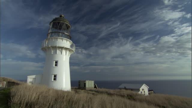 Lighthouse on headland, Stephens Island, New Zealand