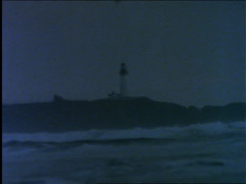 lighthouse on rocky coastline / ocean in foreground - dusk stock videos & royalty-free footage