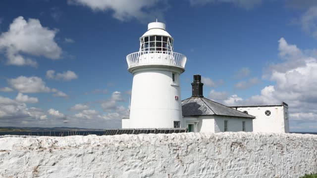 lighthouse on the farne islands with solar panels, on the northumberland coast, uk - northumberland video stock e b–roll