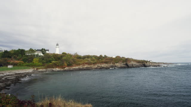 lighthouse onh the shore of york maine - maine stock videos & royalty-free footage