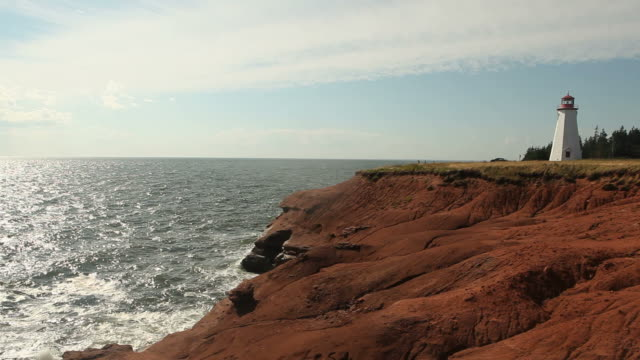 lighthouse standing on edge of prince edward island - prince stock videos and b-roll footage