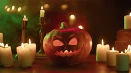 Lighting candles near carved pumpkin close-up. Jack-o-lantern with fire flame inside standing on wooden table. Halloween symbols, scary face, traditional autumn holiday decorations