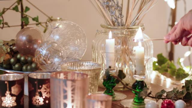 Lighting Christmas candles