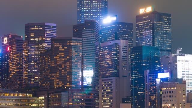 stockvideo's en b-roll-footage met 4k tl: verlichting van wolkenkrabber. - hong kong