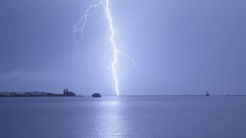 ws lighting strike over lake michigan night - lightning stock videos & royalty-free footage