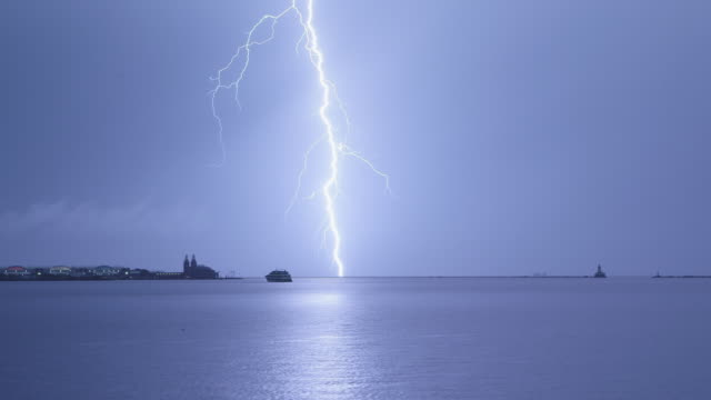 ws lighting strike over lake michigan night - lightning stock videos & royalty-free footage