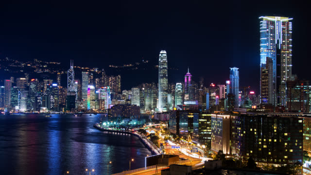 T/L WA Lightning bolts over the skyline and harbor of Hong  Kong