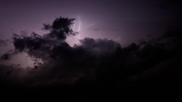 lightning clouds at night - lightning stock videos & royalty-free footage