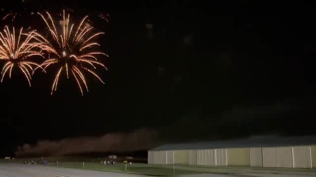 lightning flashed as fireworks exploded during an event at neil armstrong airport in new knoxville, ohio, on saturday, june 12. the national weather... - https stock videos & royalty-free footage
