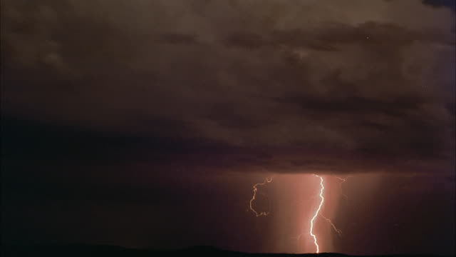 Lightning flashes in an ominous, cloudy sky during a storm.