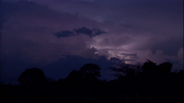 lightning flashes within ominous storm clouds. available in hd. - temporale video stock e b–roll