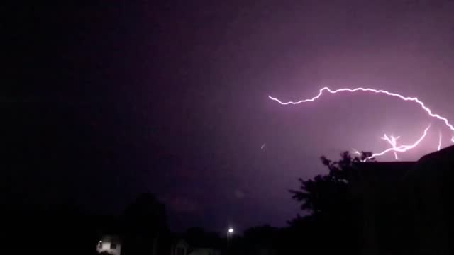lightning forked across the sky over spring, texas, as https://twitter.com/nwshouston/status/1405004363718868992 scattered storms moved through the... - https stock videos & royalty-free footage
