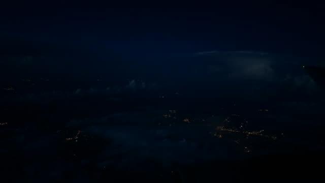 lightning in night sky, airplane pov - caribbean stock videos & royalty-free footage