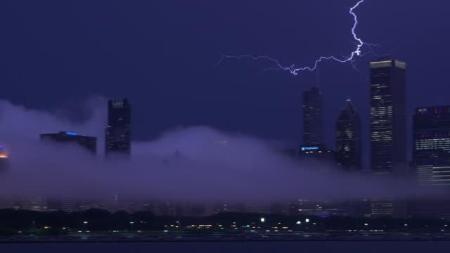 WS PAN Lightning over Chicago skyline night