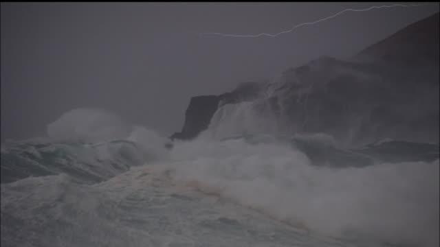 Lightning over rough seas Sea of Japan