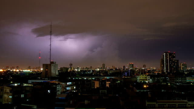 lightning over the bangkok city - covering stock videos and b-roll footage