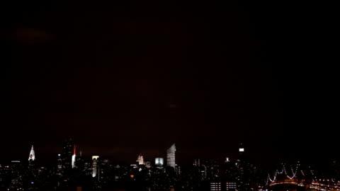 lightning over the manhattan skyline - lightning stock videos & royalty-free footage