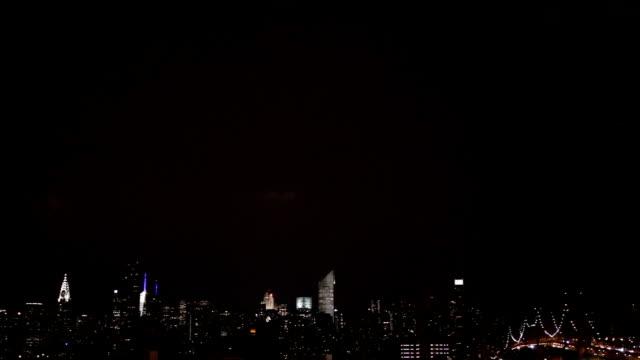 lightning over the new york city skyline - manhattan stock videos and b-roll footage