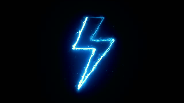 lightning shape, electric current, blue energy dark animation - symbol stock videos & royalty-free footage