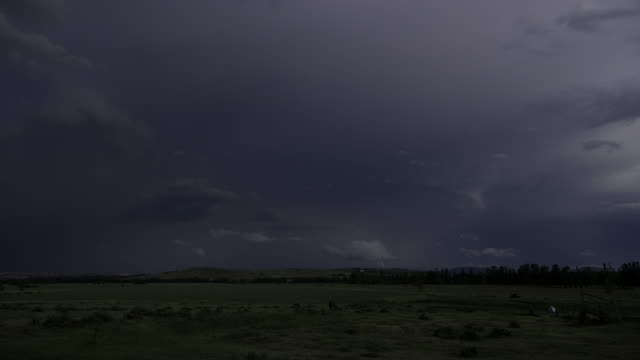 4K lightning storm above livestock and pastures, Blue Mountains, NSW