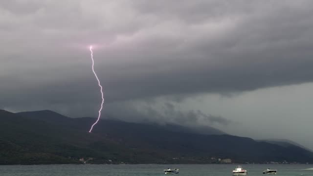 ws lightning storm over pelijesac peninsula,croatia - land stock videos & royalty-free footage