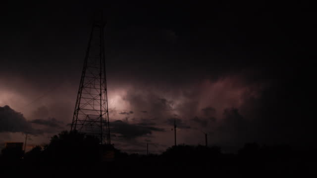 lightning storm timelapse sequence - supercell thunderstorms in texas & nebraska - electricity pylon stock videos and b-roll footage