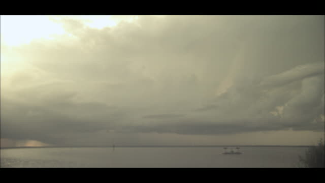lightning strikes from low hanging clouds over the ocean. - 放電点の映像素材/bロール