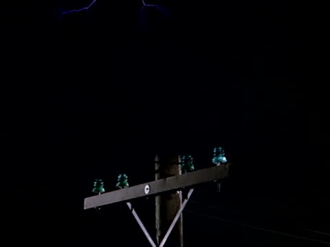 lightning strikes hitting insulators and telephone pole - transformer stock videos & royalty-free footage