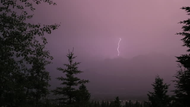 blitzeinschläge auf fernen berghängen - mountain range stock-videos und b-roll-filmmaterial