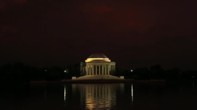 lightning strikes over the thomas jefferson memorial after a thunderstorm washington dc june 23 2015 - thomas jefferson stock-videos und b-roll-filmmaterial