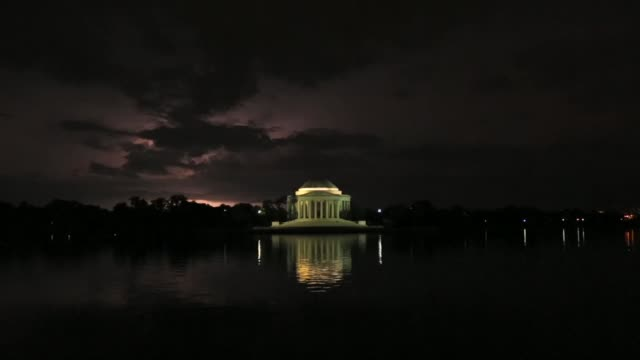 lightning strikes over the thomas jefferson memorial after a thunderstorm. washington, dc. june 23, 2015. - thomas jefferson stock videos & royalty-free footage