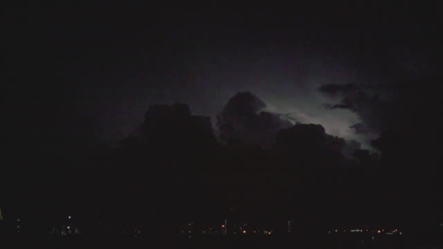 slo mo, lightning with thunderstorm clouds over the bangkok cityscape. - hurricane storm stock videos and b-roll footage