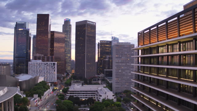 dtla lights at sunset - drone shot - tower stock videos & royalty-free footage