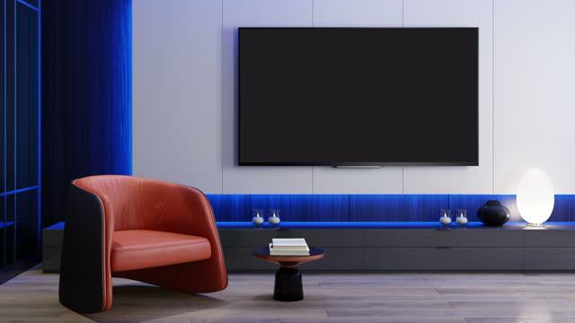 rgb lights blå till rosa on off loop - tv room modern minimalistisk interiör med 8k tv - liquid crystal display bildbanksvideor och videomaterial från bakom kulisserna