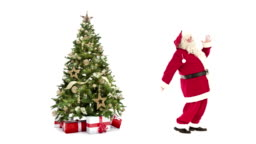 Lights decorated xmas tree with gift boxes and Santa Claus happy dancing on white background with text space to place logo or copy.Animated Christmas present greeting post card video