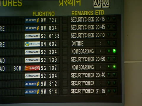Lights flash on an airport departures board