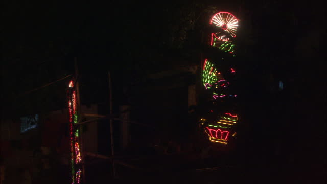 Lights flicker above streets during Diwali Hindu festival of lights Mumbai Available in HD.