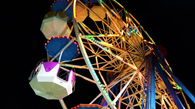 lights in amusement park - roundabout stock videos & royalty-free footage