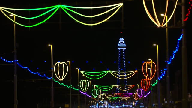 lights in blackpool, on the sea front, go out as england goes into its second coronavirus lockdown - multi coloured stock videos & royalty-free footage