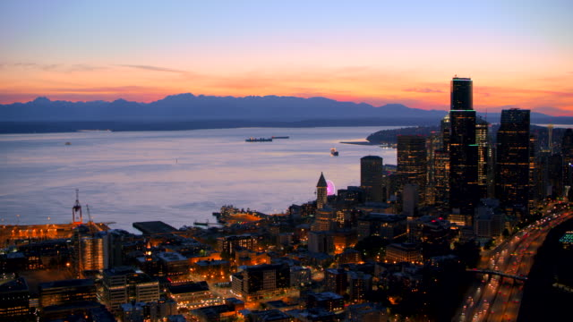 aerial lights lighting seattle at night - mississippi river stock videos & royalty-free footage