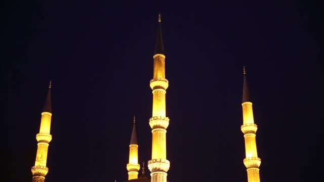 lights of selimiye mosque in northwestern turkey were turned off to support the traditional international environmental action earth hour on april 06... - earth hour stock videos & royalty-free footage