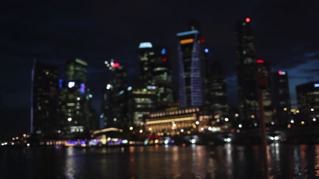 WS RF Lights on building across water / Singapore
